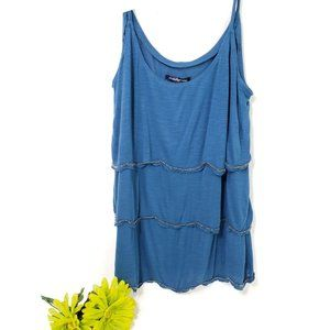 American Eagle tiered cami tank top w/beads, L